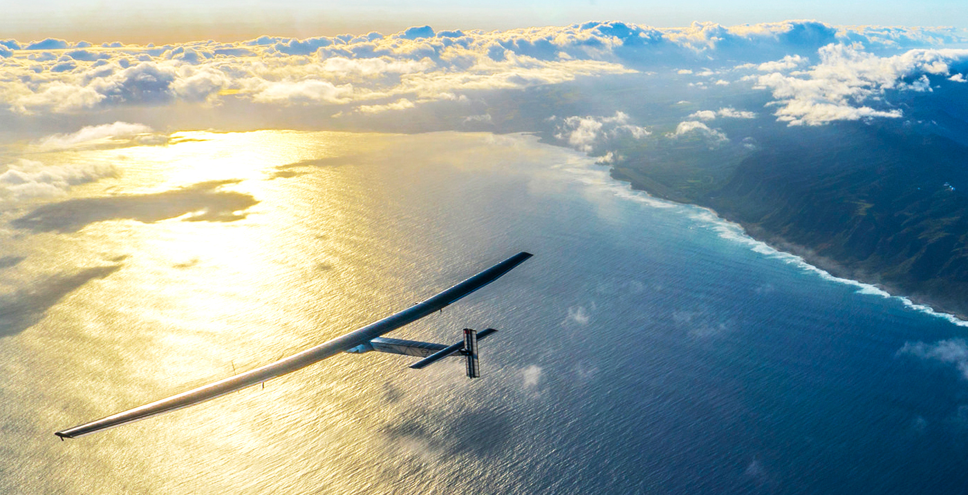 Solar Impulse flying over Hawaii