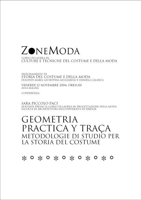 Geometria practica y traça – Metodologie di studio per la storia del costume