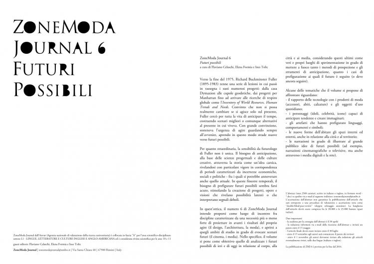 ZoneModa Journal 6: Futuri Possibili. Call For Paper